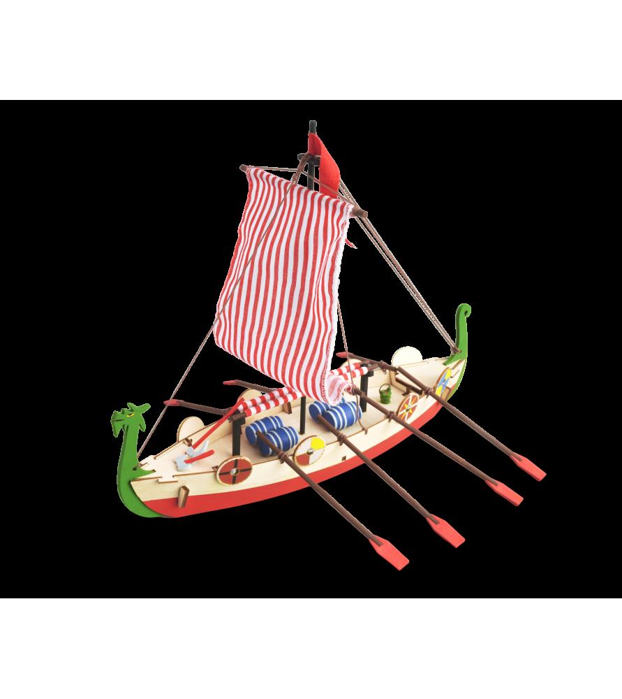 Maqueta en Madera para Niños: Barco Vikingo Drakkar