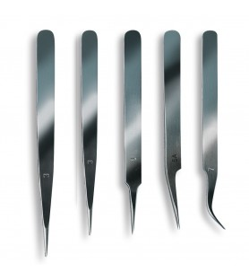 Set of 5 stainless steel tweezers with fine point