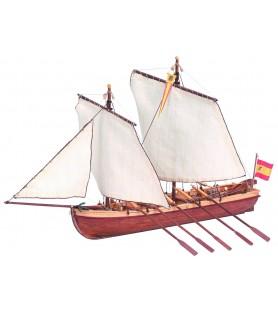 Maqueta de Barco en Madera: Lancha del Capitán Santísima Trinidad 1/50