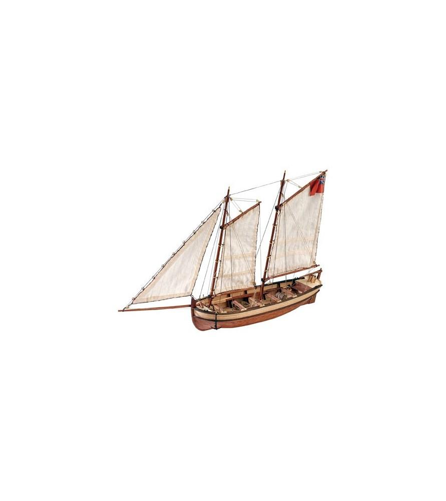Maquette Bateau en Bois: Canot du Capitaine du HMS Endeavour 1/50