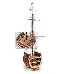 Wooden Model Ship Kit: The Section of San Francisco Galleon 1/50