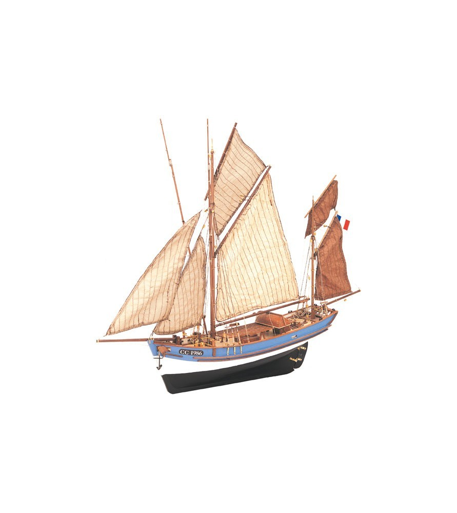Maquette Bateau en Bois: Bateau de Pêche Marie Jeanne 1/50