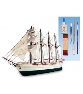 Maqueta de Barco en Madera y Plástico: Juan Sebastián Elcano 1/250