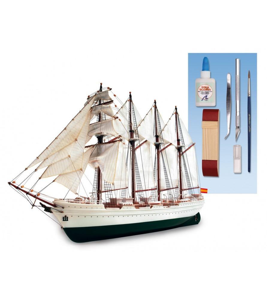 Maquette Bateau en Bois et Plastique: Juan Sebastian Elcano 1/250