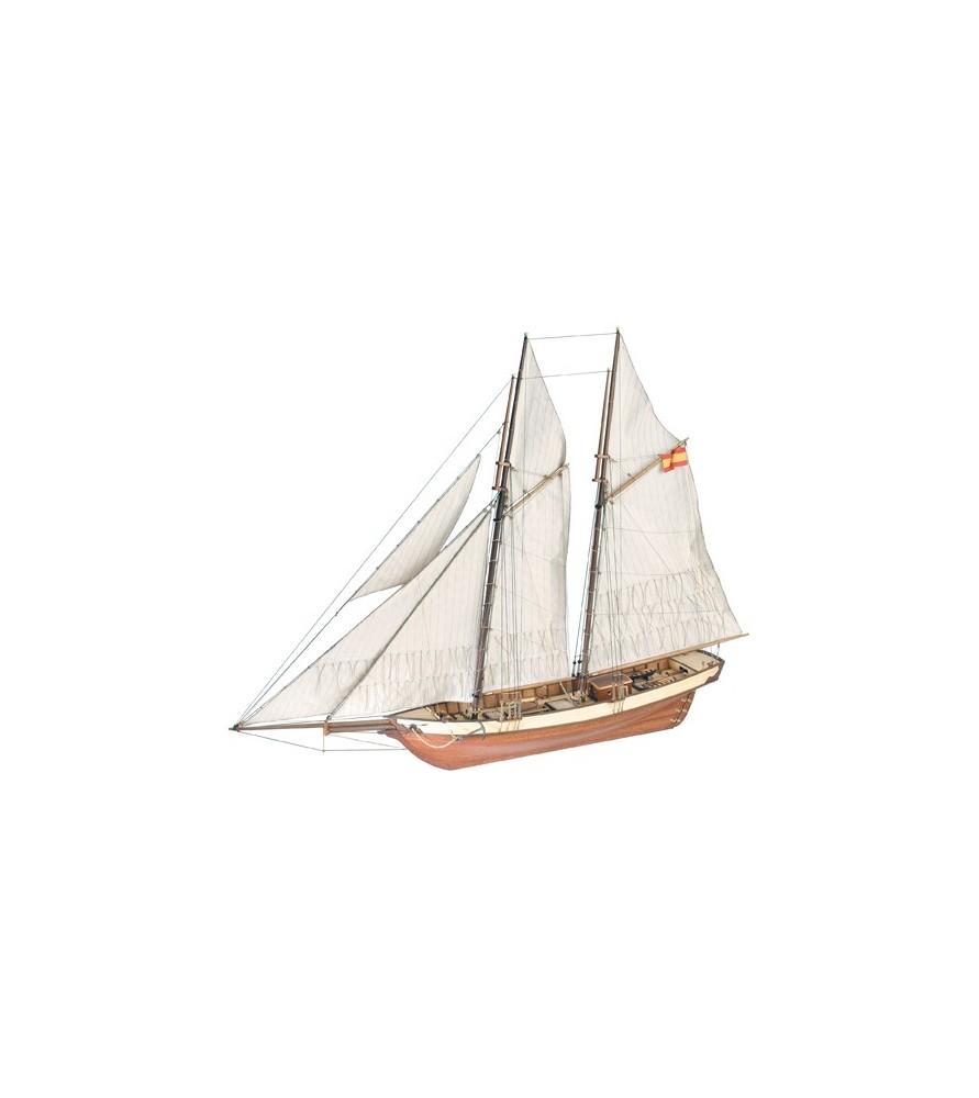 Maqueta de Barco en Madera: Goleta Mistral S. XIX 1/60