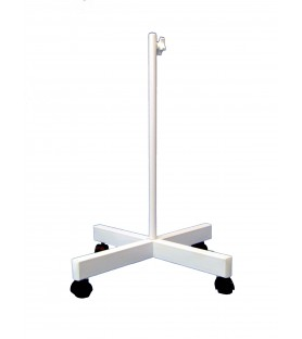 Floor stand with wheels for lamps with magnifying glass