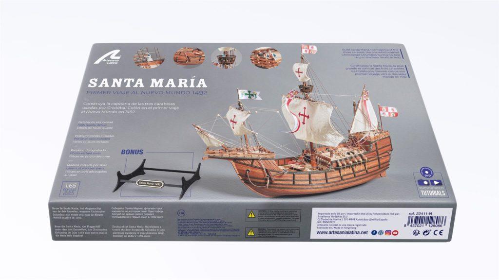 Maquette en bois rénovée de la Caravelle Santa Maria.