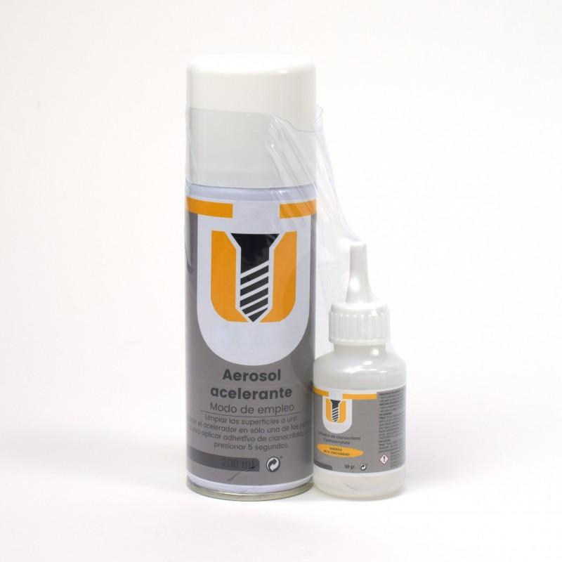 Accesorios Modelismo. Pack Cianocrilato Denso 50 gr y Acelerador Spray.