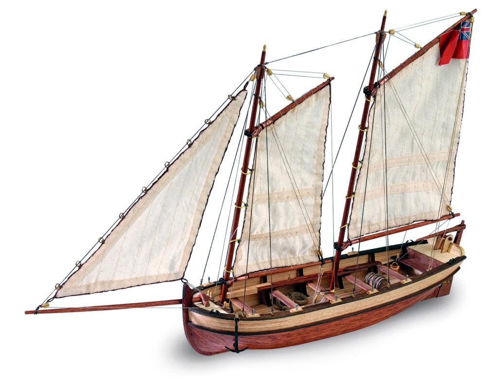 Ship Modeling. Wooden ship model of Captain's Boat HMS Endeavour 1/50 (19015).