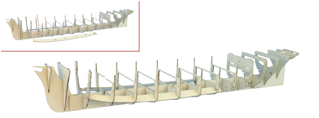 Ship Hull Construction. Adjustment of the Frames on the Assembly of the Wooden Ship Model.