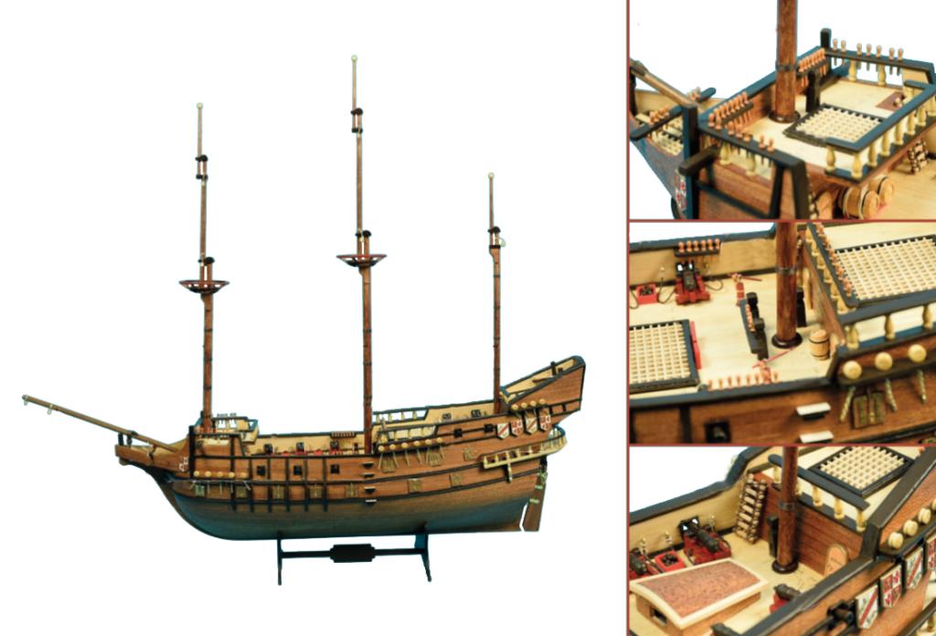 Gréement de maquette de bateau : placement des mâts.