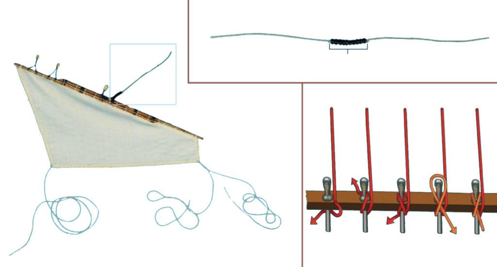 Gréement de maquette de bateau : voile latine.