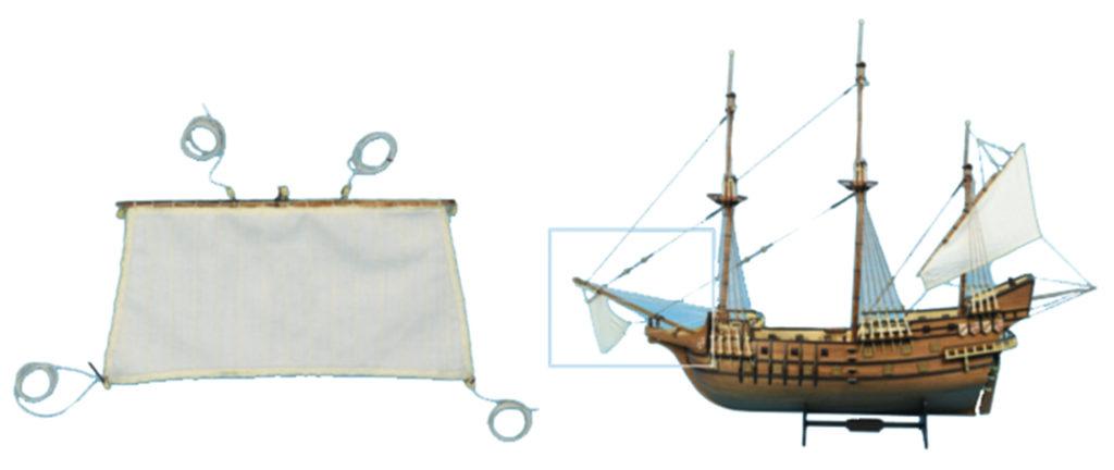 Gréement de maquette de bateau : voile civadière.