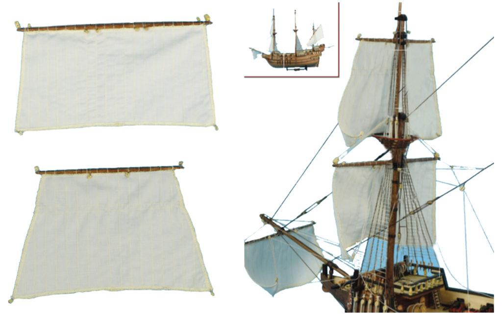 Gréement de maquette de bateau : voile misaine et voile petit perroquet.