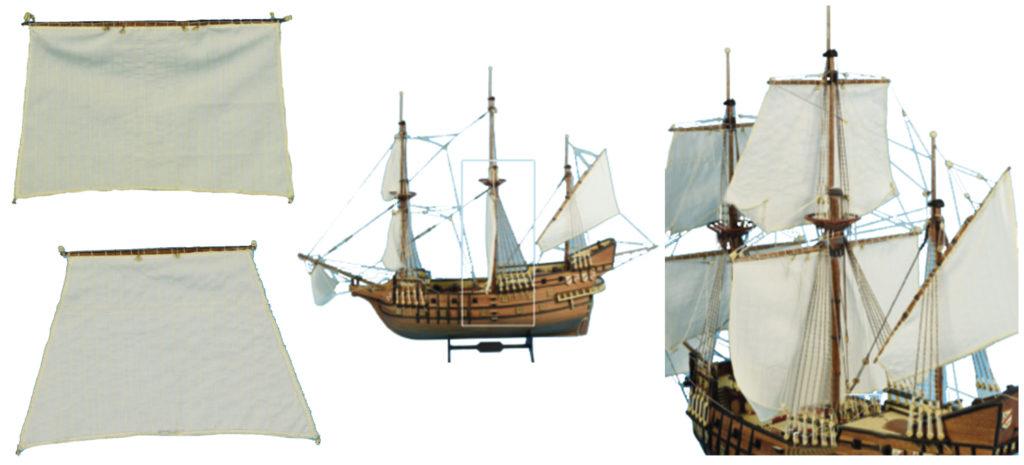 Gréement de maquette de bateau : grand-voile et voile grand-perroquet.