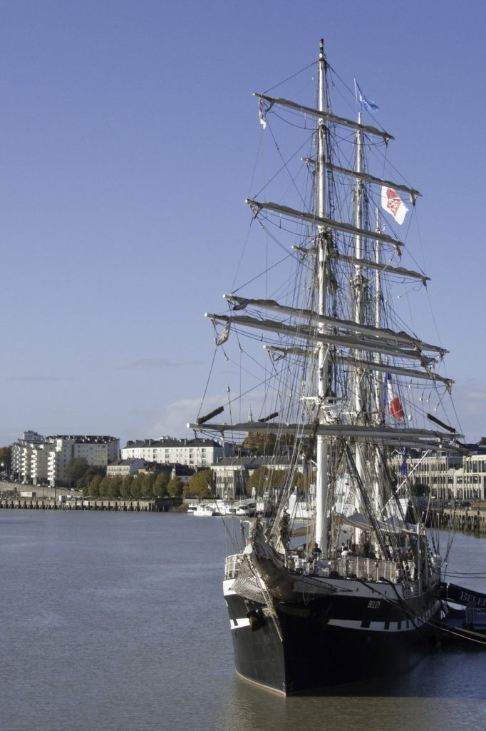 History of the Belem Training Ship. The French Sailboat, Docked in Port.