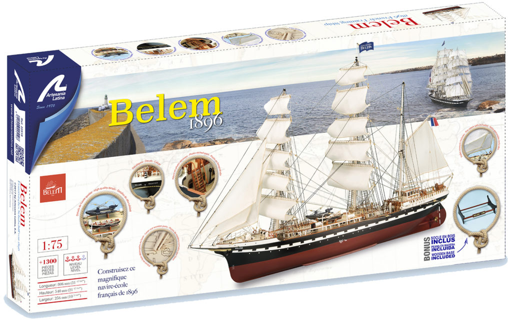 Naval modeling. Belem French Training Ship Model at 1/75 scale (22519).