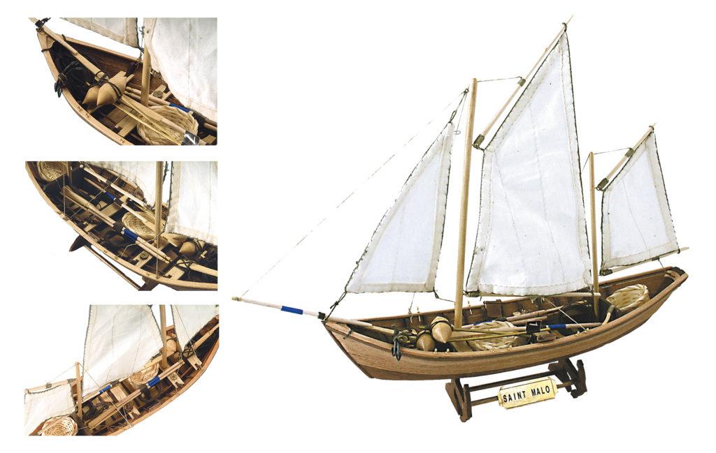 Maquette en Bois Bateau de Pêche Doris Saint Malo (19010).