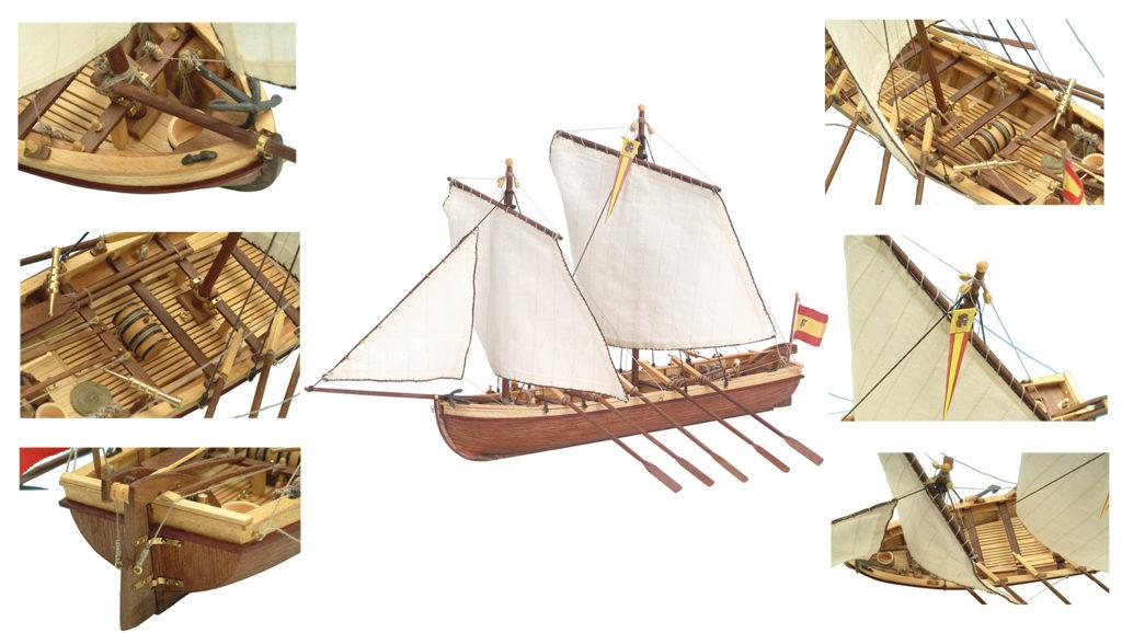 Maquette de Bateau en Bois Canot du Capitaine Santísima Trinidad (19014).