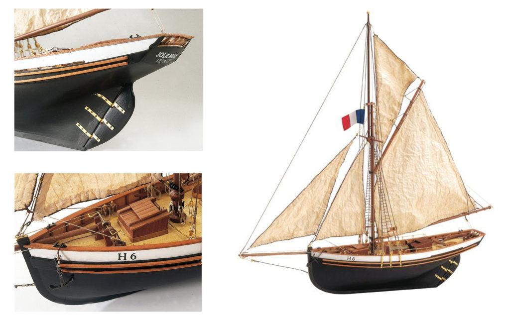 Modélisme Naval pour Débutants: Maquette en Bois Bateau de Pêche Jolie Brise (22180).